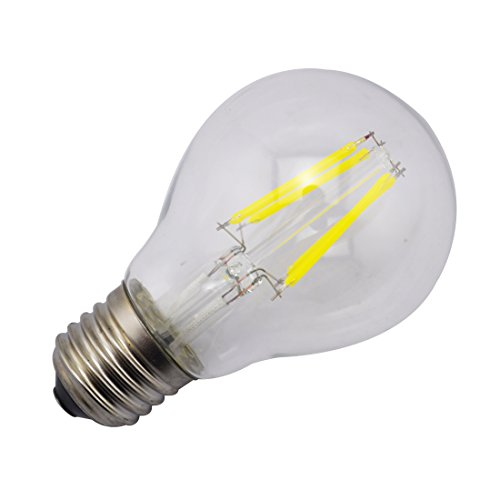 Sungetace 4W E27 E26 Cob Epistar 400Lm 6000K Cool White Led Light Bulbs Incandescent Lamp Tungste Filament Core Ac110V 360 Degrees Transparent Glass Cover-To Replace 80W Incandescent Light