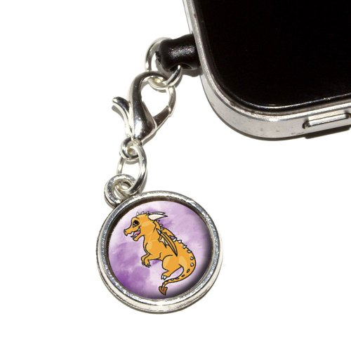 Graphics And More Cute Yellow Dragon - Fantasy Medieval Purple Anti-Dust Plug Universal Earphone Headset Jack Charm For Mobile Phones - 1 Pack - Non-Retail Packaging - Antiqued Silver
