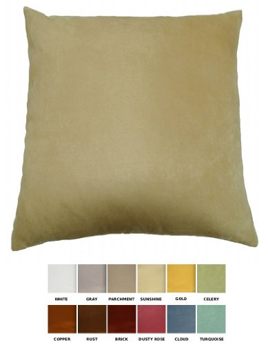 "Dreamhome - Solid Faux Suede Decorative Pillow Cover/Euro Sham, 26"" X 26"" - Sunshine front-275996"
