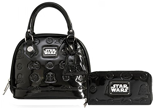 Loungefly Star Wars Darth Vader Mini Patent Embossed Bag & Matching Wallet Bundle