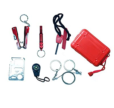 Makhry 6 in 1 Multi-Functional Pocket Outdoor Survival Kit First Aid Kit Emergency Tool Gear Set Bundle Survive Tool Pack for Emergency