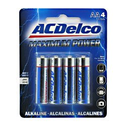 BATTERIES AC DELCO AA 4PK ALKALINE MAXIMUM POWER, Case Pack of 48 (Ac Delco Batteries 48 compare prices)