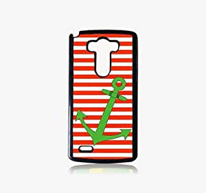 Krazycases Orange Strips With Anchor Back Shell Cover For LG G3