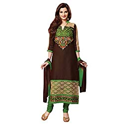 Fabfirki Brown and Green Cotton Unstitched Salwar Suit
