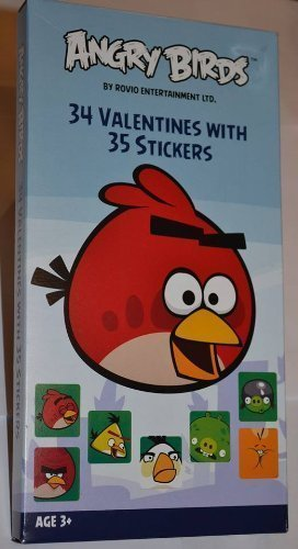 34 Angry Bird Valentines with 35 Stickers