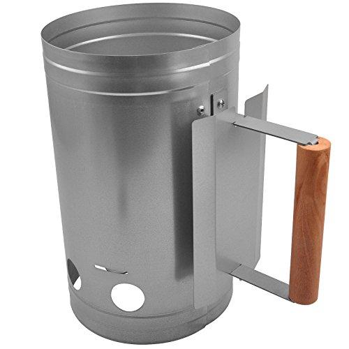Broil-master - Cheminée d'allumage pour barbecue - Ø 17 cm - en acier zingué - poignée en bois résistante à la chaleur