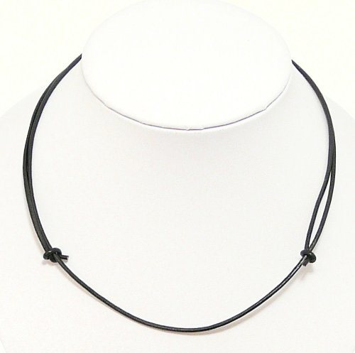 Neptune Giftware Mens Surf Surfer Black Leather Cord Necklace / Leather Choker / Leather Necklace - Fully Adjustable - 14