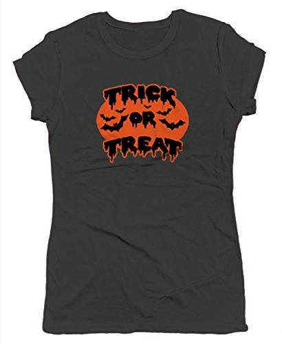 Trick Or Treat Bats Junior's T-shirt, SpiritForged Apparel, Black Large (Spirit Halloween Sf)