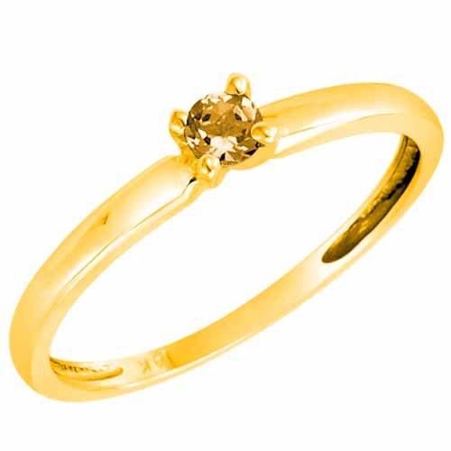 DivaDiamonds 10ct Yellow Gold Round Solitaire Citrine Ring (0.25 ctw) - Size Q