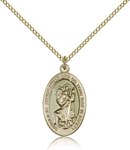 Genuine IceCarats Designer Jewelry Gift Gold Filled St. Christopher Pendant 7/8 X 1/2 Inch With 18 Inch Gold Filled Lite Curb Chain. Made In Usa.