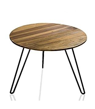 Mesa de centro de salón redonda (madera y metal
