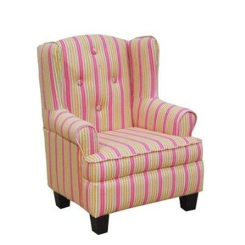 Kinfine USA Pink Stripe Wingback Chair Good Deal Babooss