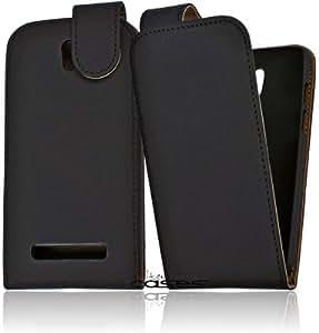 Alternate Cases Premium Flip Case Handytasche für das HTC Desire 500 Wallet Flip Cover Etui Schutzhülle - ultra dünn - Magnetverschluss in schwarz / black bi-color