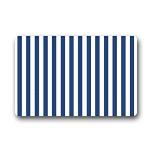 Amazon.com : Door Mat Navy Blue and White Vertical Stripe ...