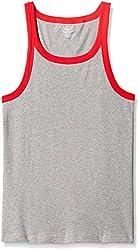 Jockey Mens Cotton Vest (8901326044964_US27-0105-GRYML Grey meland Red Bias Fashion Vest XL)