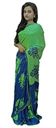 Aradhya Women's Green Printed Crepe Saree with Blouse Piece