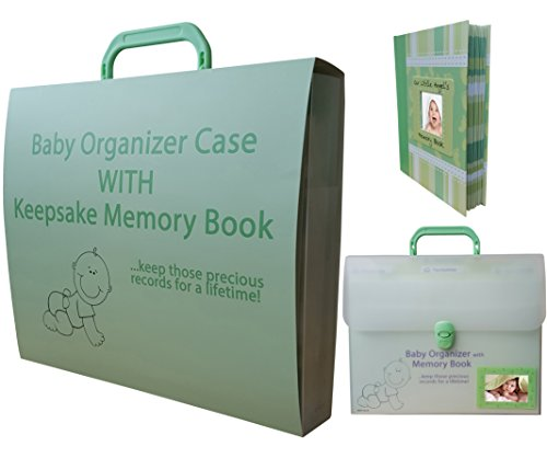 Unique Baby Gifts Set - Organizer With Keepsake Memory Book - MINT GREEN For Newborn, Twins, Boy Or Girl - Best Lifetime Memories & Documents Kept Organized, Safe And Secure - Perfect For Shower Ideas