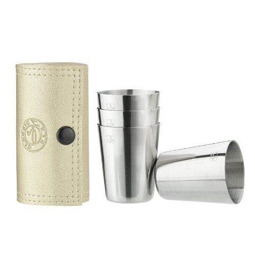 Savage 18/8 Stainless Steel Shot Glasses With Golden Leather Case,1.2Oz,Set Of 4 Rm-B03-2