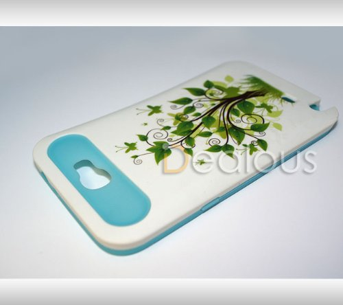 Cool Blue/ White Tree Glow In The Dark HYBRID Skin / Hard Case Samsung GALAXY NOTE 2