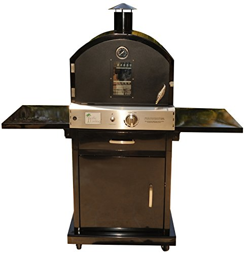 Pacific Living Outdoor Large Capacity Gas Oven with Pizza Stone, Smoker Box and Mobile Cart, Black Powder Coat (Gas Outdoor Pizza Oven compare prices)