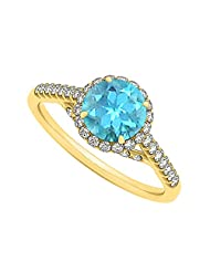 Created Blue Topaz And CZ Specially Designed Engagement Ring In Yellow Gold Plated Vermeil Unique Desig