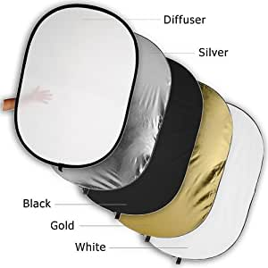 """Fotodiox Pro 40x60"""" 5-in-1 Collapsible Oval Reflector, Silver/Gold/Black/White/Diffuser"""