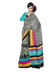 Inddus Exclusive Women Art Silk Black Printed Saree - B00NNDMNP6