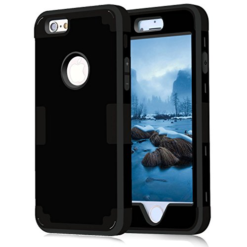 iPhone 6 Case 4.7, iPhone 6 Cases Hard Cover Shell TPU Rubber 2 Piece Ultra Slim Thin Bumper Covers Apple iPhone 6S Case Durable Protective Design Hybrid Defender Heavy Duty Shockproof (Black) (Carbon Fiber Iphone 6case compare prices)