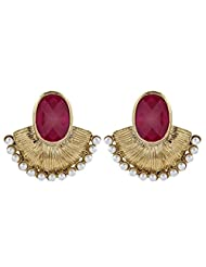 The Jewelbox Gold Plated Stud Earring For Women ( Red )