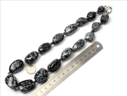 16--30mm graduated snowflake obsidian beads strand necklace 18