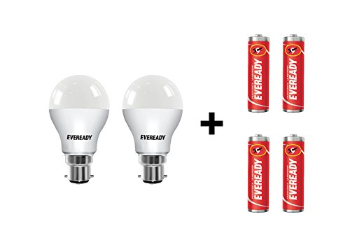 Eveready-7W-B22-LED-Bulb-(Cool-Day-Light,-Pack-Of-2)-With-Free-4-Batteries
