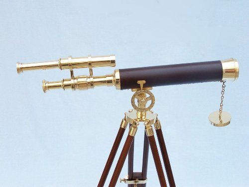 "Floor Standing Brass/Leather Griffith Astro Telescope 44"" - Vintage Brass Telescope - Nautical Decoation - Leather Wrapped Telescope - Brand New"