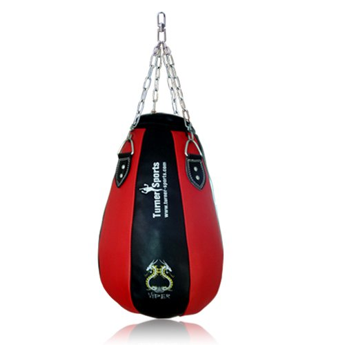 Pear Shape Maize Bag, Boxing Punch Bag, Filled, FREE Chain & Mitts, Training Bag for MMA, Boxing, etc - Red/Blk