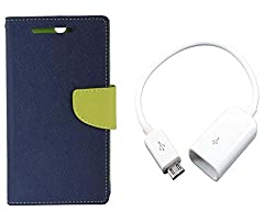 Novo Style Book Style Folio Wallet Case MotorolaMoto E Blue + Micro USB OTG Cable Attach Pendrive Card Reader Mouse Keyboard to Tablets Mobile