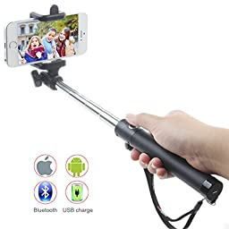 New Selfie Stick, U-Shape Self-portrait Monopod Extendable Selfie Stick with built-in Bluetooth Remote Shutter for iPhone 6,6 plus,5S, Samsung Galaxy S6 S5,Note 4, Android