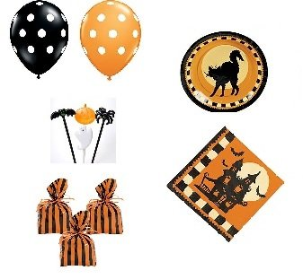 Halloween Party Set - Plates Napkins Balloons Goody Bags Picks