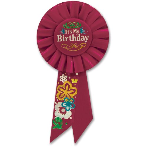 Beistle RS191 It's My Birthday Rosette Party Item, 3-1/4-Inch by 6-1/2-Inch, Red