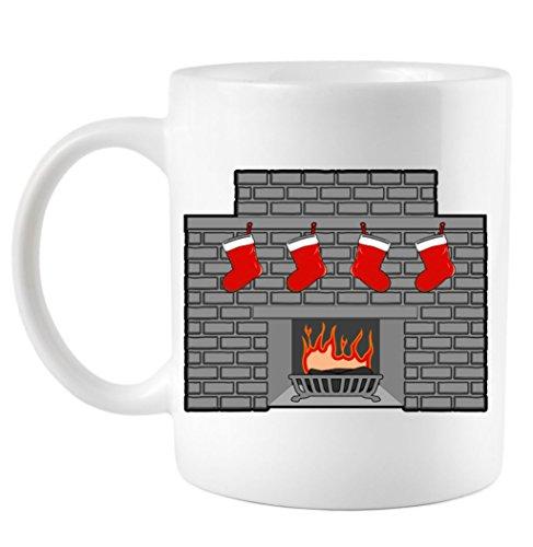 Stockings On Fireplace Christmas Coffee Mug White 11 Oz