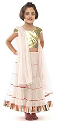 Awesome Fab White Colour Soft Net Semi-stitched Laced Lehenga Choli