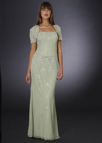 Sage Formal Evening Dress with Bolero - Mother of Bride & Groom, Wedding, Party, MOB Gown by Sean Collection (7313)