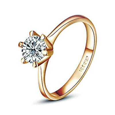 Yoursfs Unique 18k Rose Gold 1CT Simulated Diamond Solitaire Engagement Rings