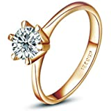 [Fashion Series] Yoursfs Unique Solitaire Cubic Zirconia CZ Engagement Ring 18K Rose Gold Plated Valentine's Day Gift Ring