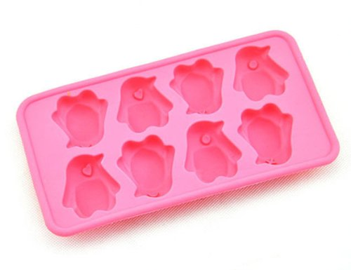 Jade Onlines 8-Cavity Adorable Penguin Shaped Ice/Cake/Chocolate/Sugar Decorating Silicone Mini Cube Craft Fondant Mold Tray(Send By Random Colour)