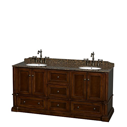 Rochester 72 Inch Double Bathroom Vanity In Cherry, Baltic Brown Granite Countertop, Undermount Oval Sinks, And No Mirrors