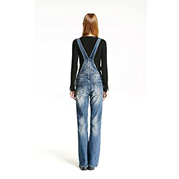 Track Seven Women's Relaxed Fitted Vintage Flare Denim Overalls Blue