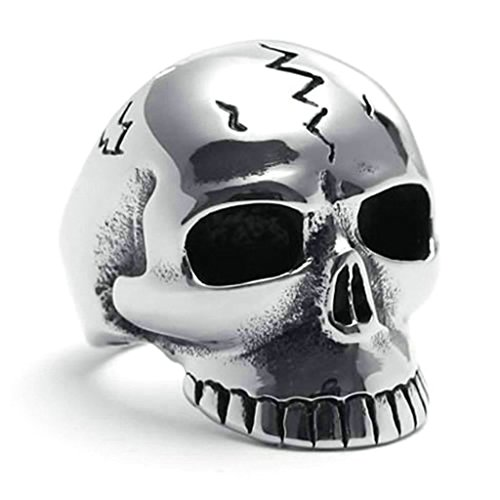 Daesar Stainless Steel Rings Mens Punk Rings Skull Ring Silver Black Rings Biker Size:9