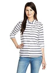 US POLO Women's Button Down Shirt (UWSH0346_White_Medium)
