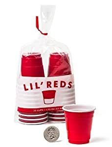 ChefLand 40-Piece Mini Party Shot Glasses, 1.75-Ounce, Red, Two Packs of 20 Each