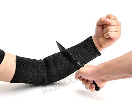 RISACCA 防刃 手袋 スリーブ カッター ナイフ 包丁 刃物 から身を守る 高性能 危険作業 防犯 サバイバル グッズ 収納袋付 (ロングスリーブ)