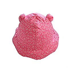 Home Prefer Baby Girls Floppy Brim Soft Cotton Bucket Hat with Strap Cute Pink Leopard Pattern Sun Protection Cap 2-3Y